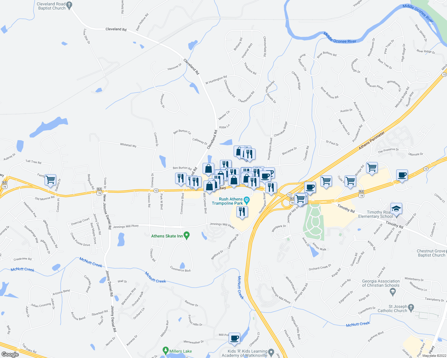 map of restaurants, bars, coffee shops, grocery stores, and more near 150 Crane Drive in Bogart