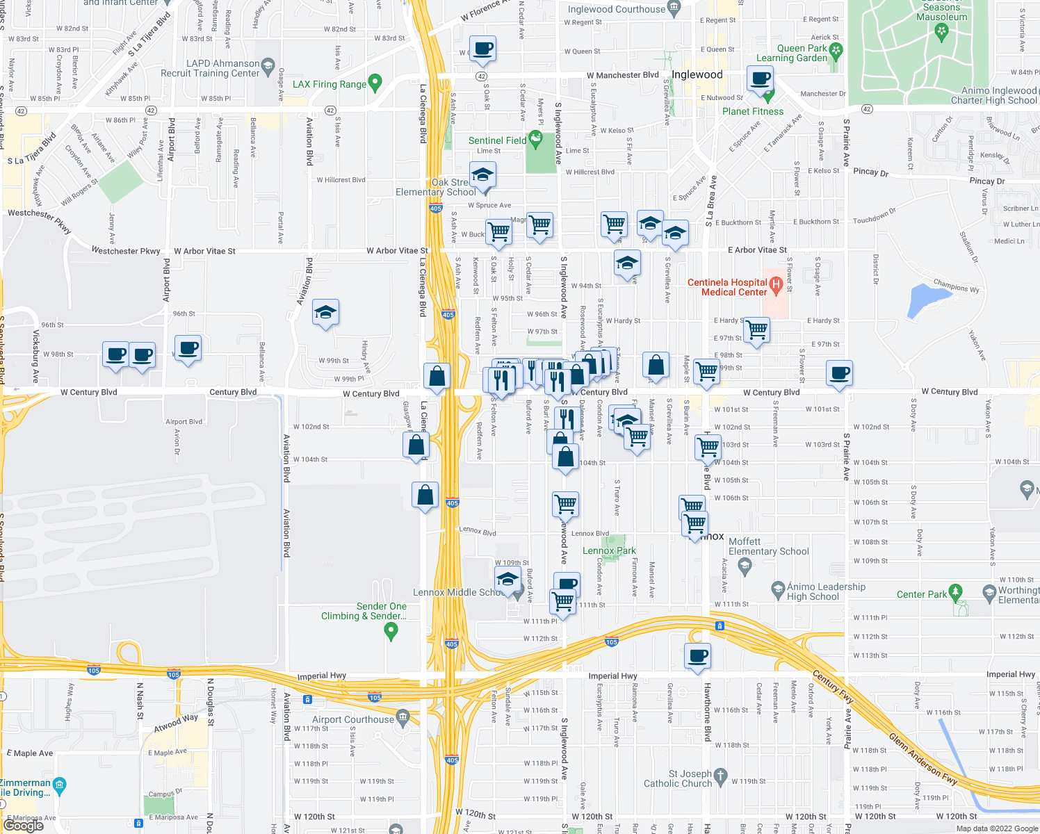 map of restaurants, bars, coffee shops, grocery stores, and more near 10200-10204 Buford Avenue in Lennox