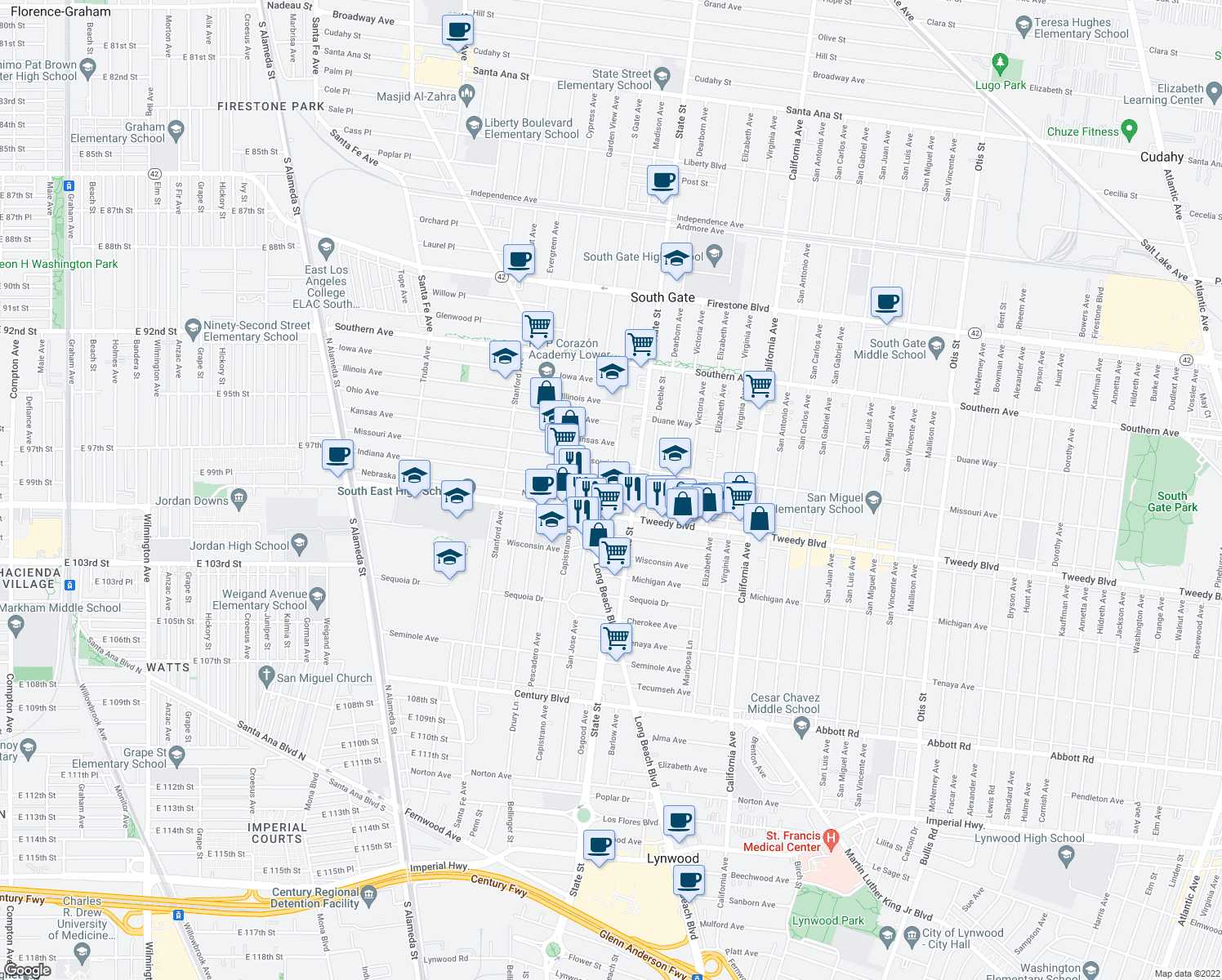 map of restaurants, bars, coffee shops, grocery stores, and more near 9807 Madison Avenue in South Gate