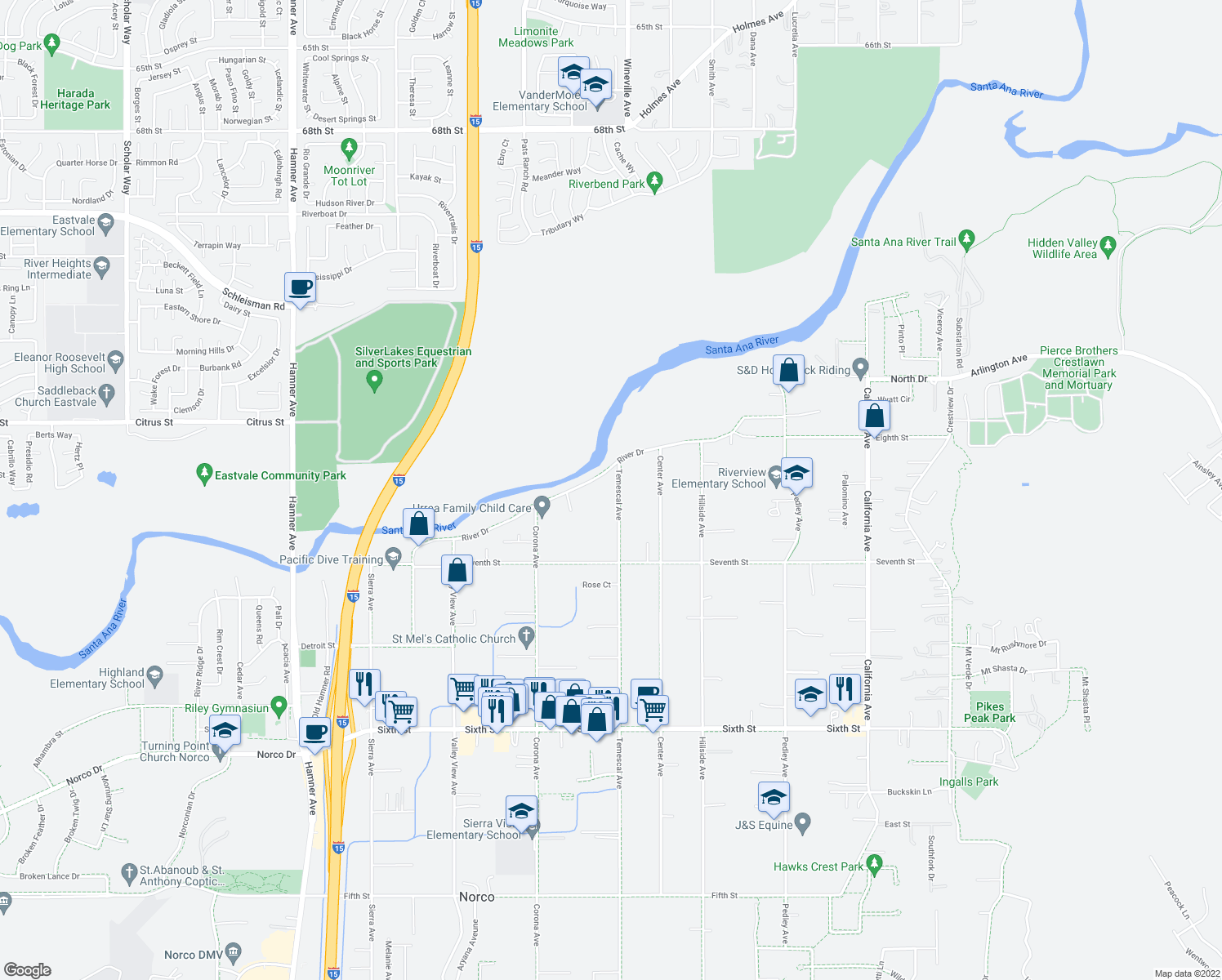 map of restaurants, bars, coffee shops, grocery stores, and more near 4636 Temescal Avenue in Norco