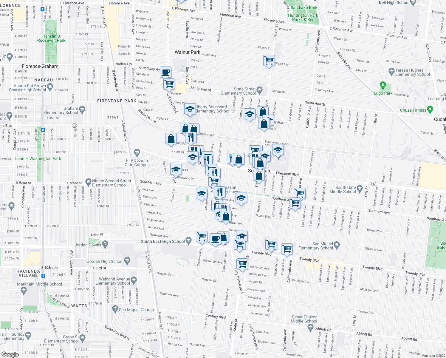 map of restaurants, bars, coffee shops, grocery stores, and more near 8953 Cypress Avenue in South Gate