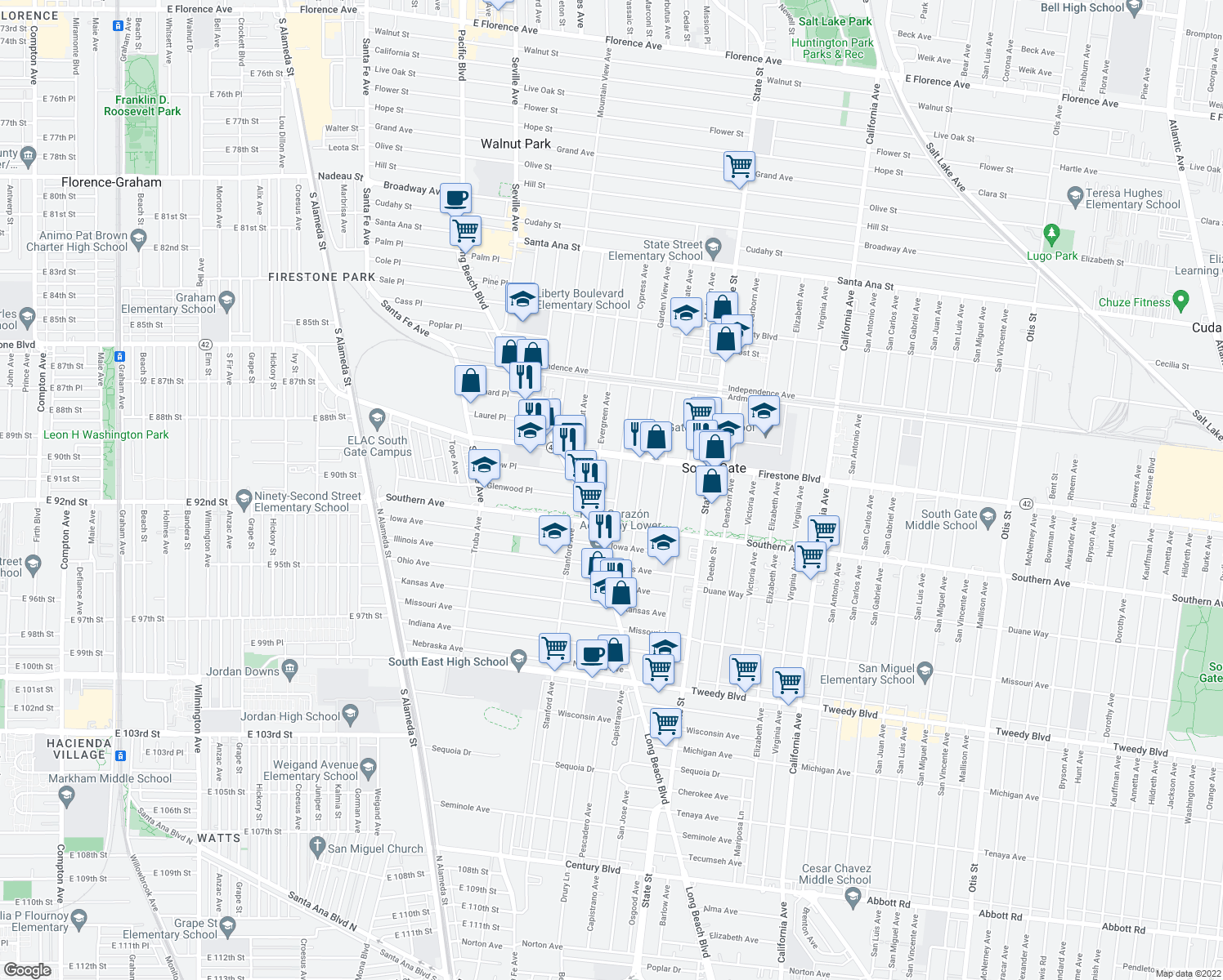 map of restaurants, bars, coffee shops, grocery stores, and more near 8953 Cypress Ave in South Gate