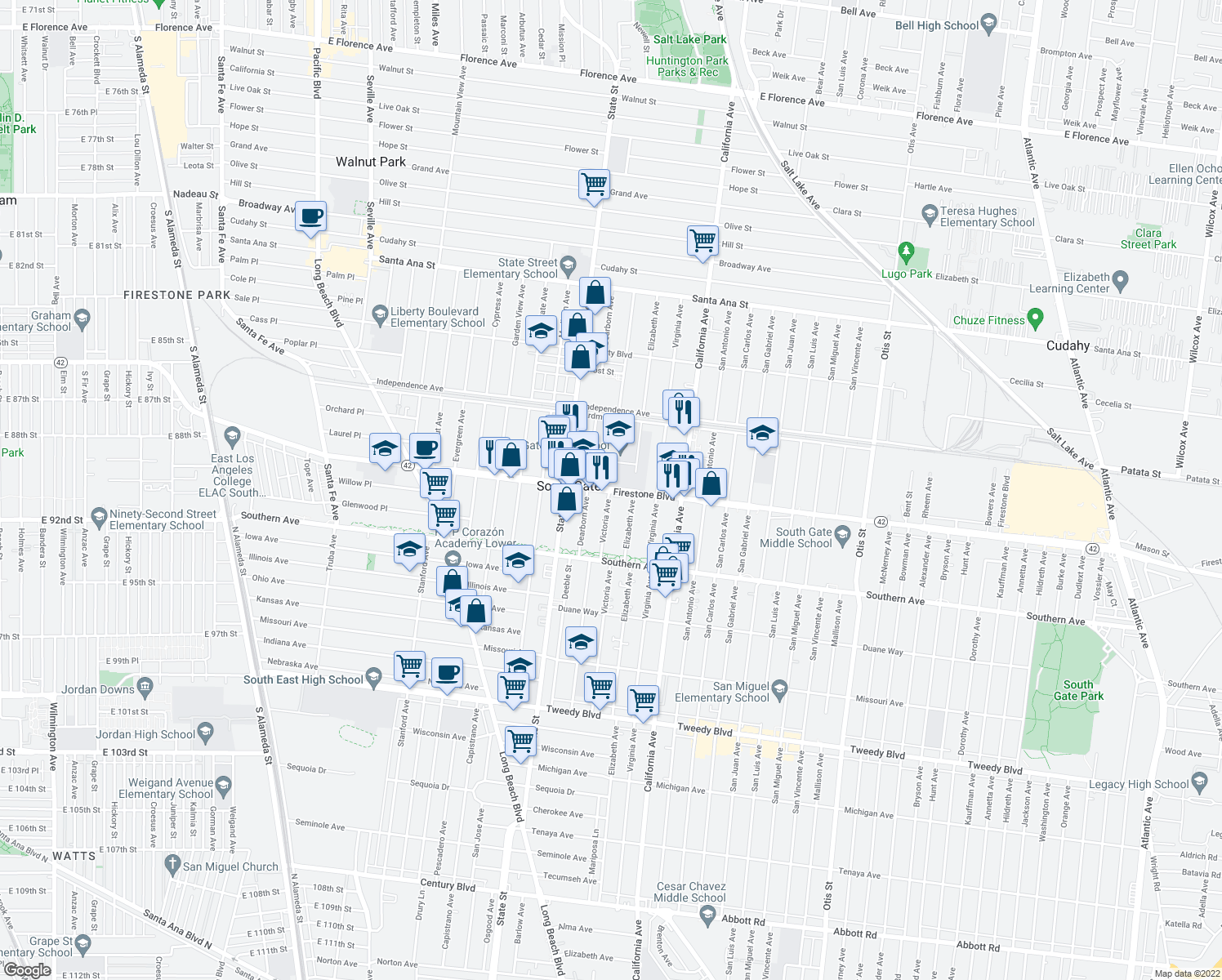 map of restaurants, bars, coffee shops, grocery stores, and more near 8925 Victoria Avenue in South Gate