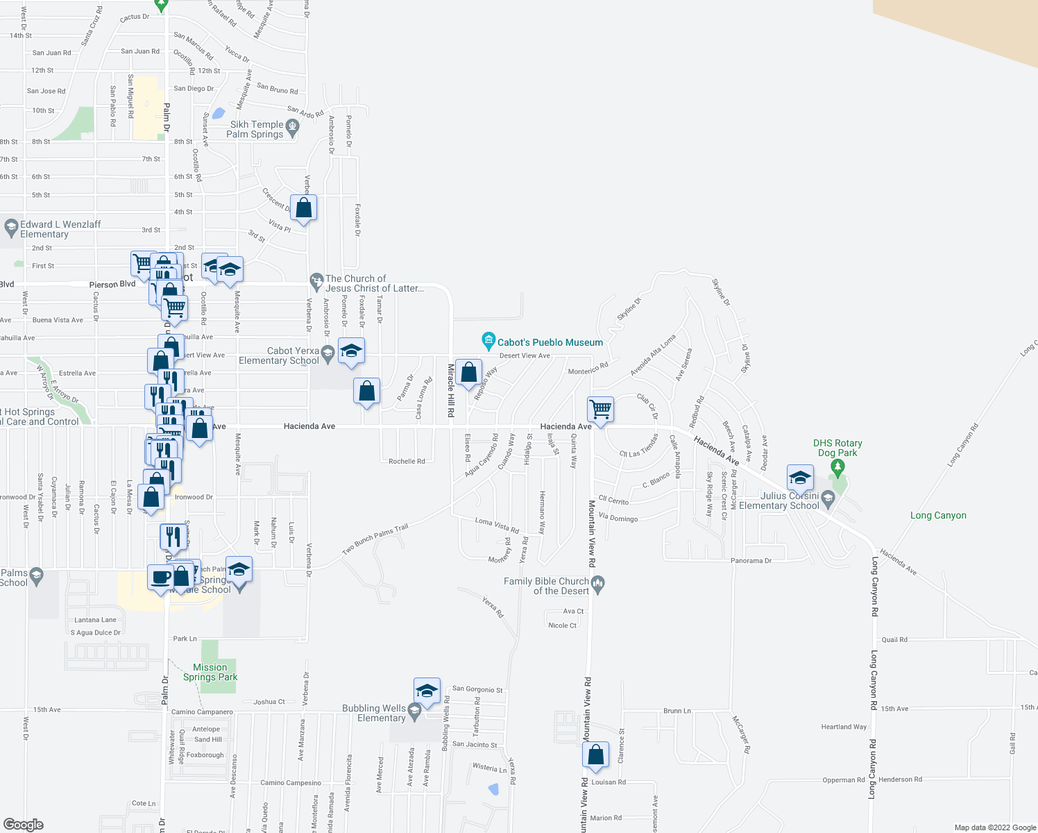 map of restaurants, bars, coffee shops, grocery stores, and more near 12984 Cuando Way in Desert Hot Springs