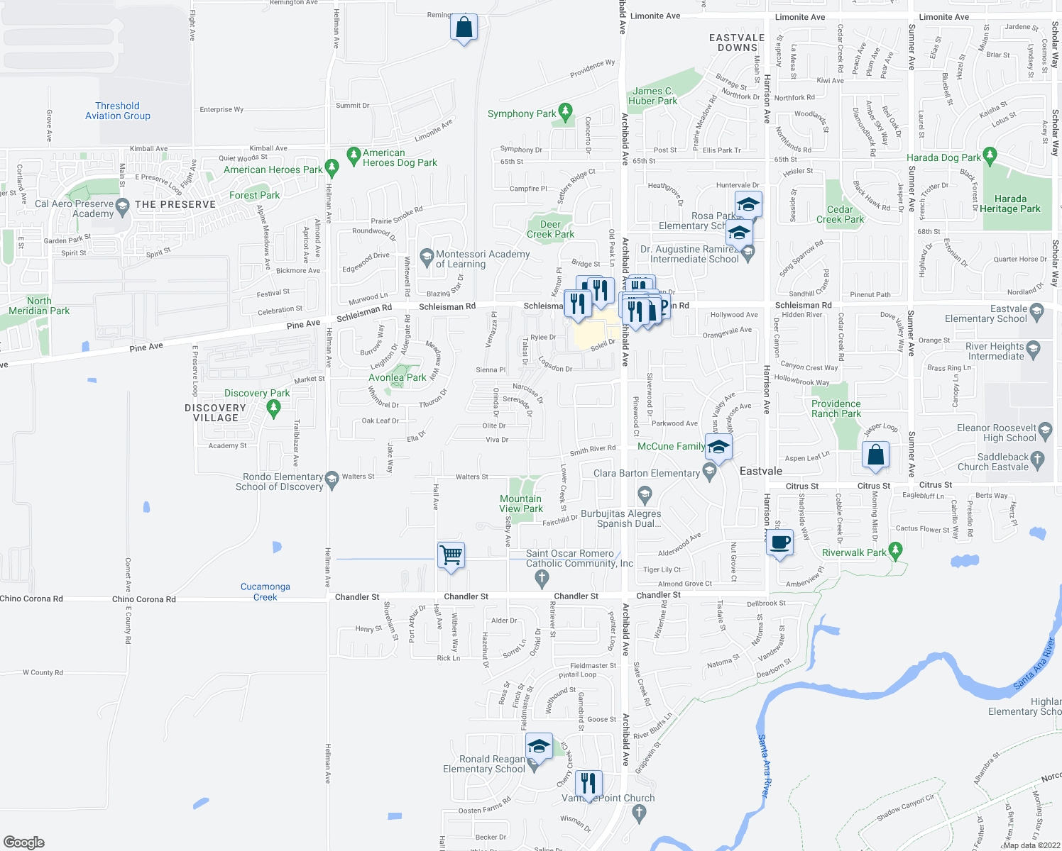 map of restaurants, bars, coffee shops, grocery stores, and more near 14430 Serenade Drive in Eastvale