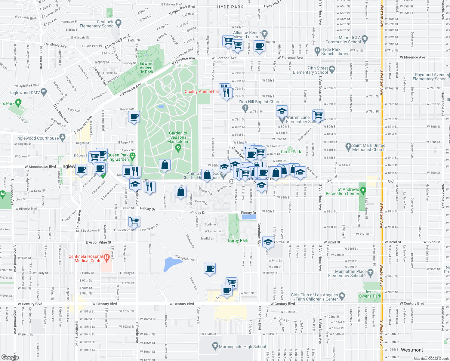 map of restaurants, bars, coffee shops, grocery stores, and more near 3513-3539 West Manchester Boulevard in Inglewood