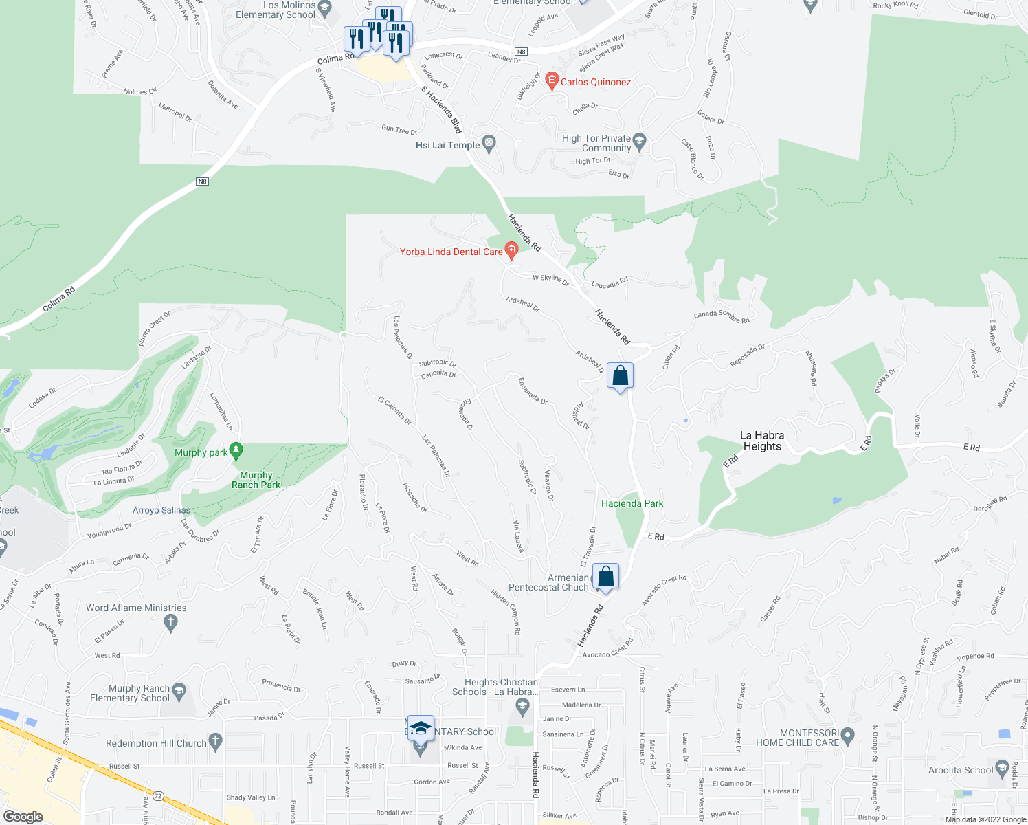 map of restaurants, bars, coffee shops, grocery stores, and more near 2088 Virazon Drive in La Habra Heights