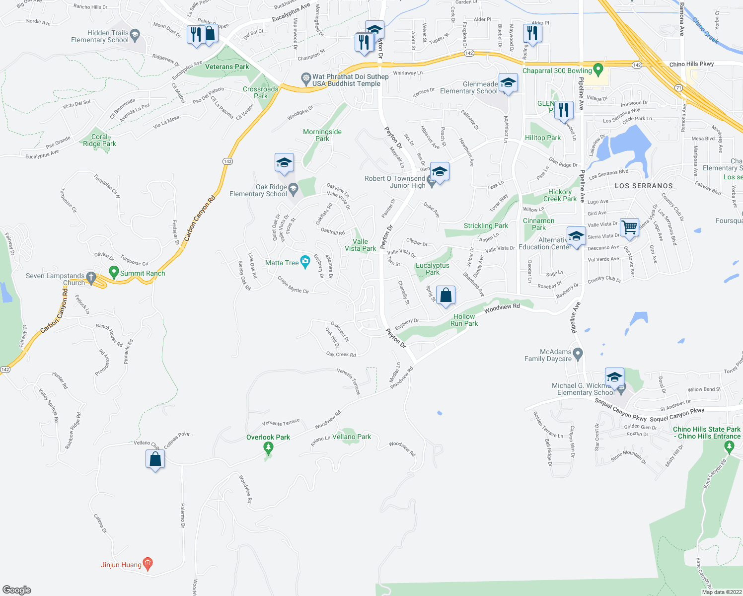 map of restaurants, bars, coffee shops, grocery stores, and more near 15848 Deer Trail Drive in Chino Hills