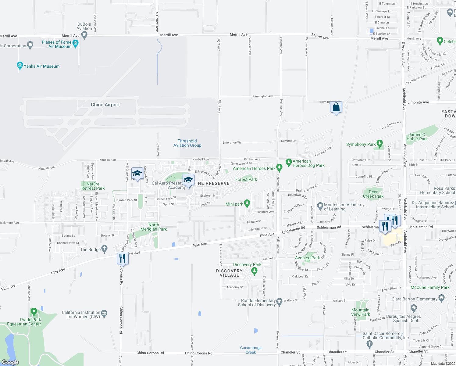 map of restaurants, bars, coffee shops, grocery stores, and more near 15866 Canopy Avenue in Chino