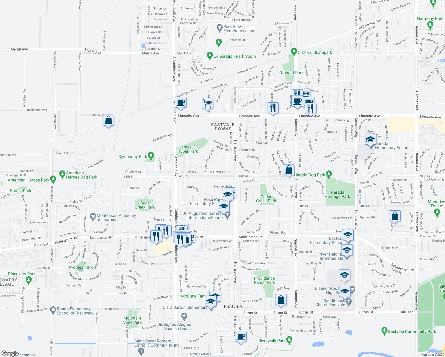 map of restaurants, bars, coffee shops, grocery stores, and more near 13894 Blue Ribbon Lane in Corona