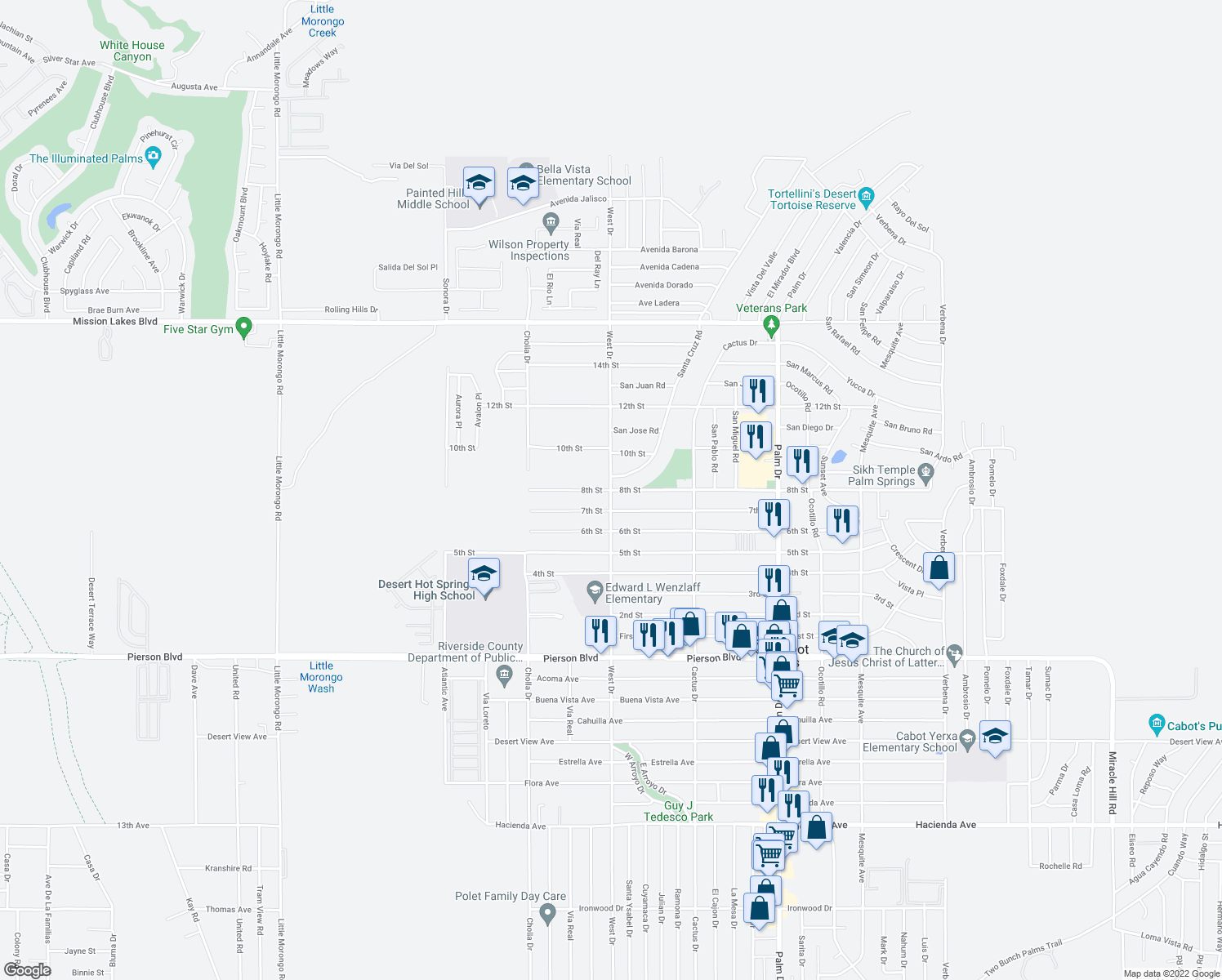 map of restaurants, bars, coffee shops, grocery stores, and more near West Dr & 8th St in Desert Hot Springs