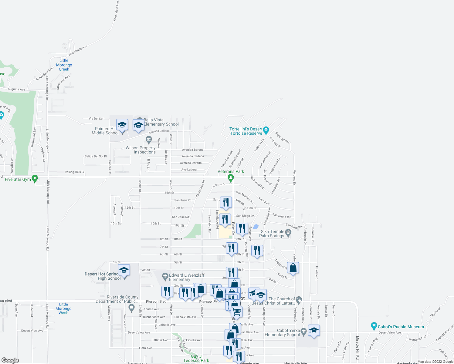 map of restaurants, bars, coffee shops, grocery stores, and more near 66462 Cactus Drive in Desert Hot Springs