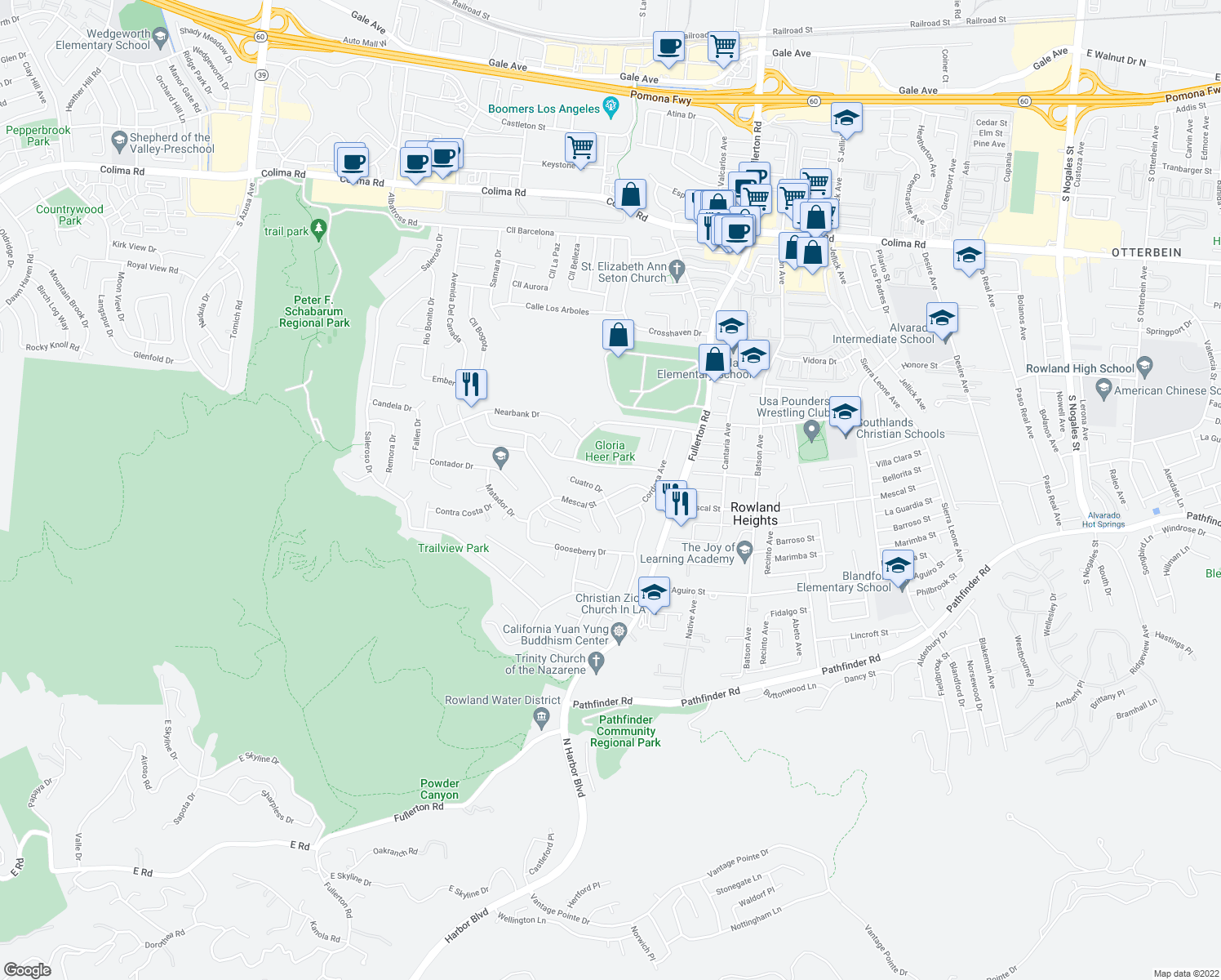 map of restaurants, bars, coffee shops, grocery stores, and more near 18083 Mescal Street in Rowland Heights