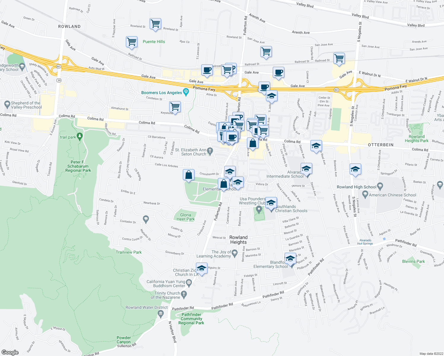 map of restaurants, bars, coffee shops, grocery stores, and more near 1940 South Fullerton Road in Rowland Heights