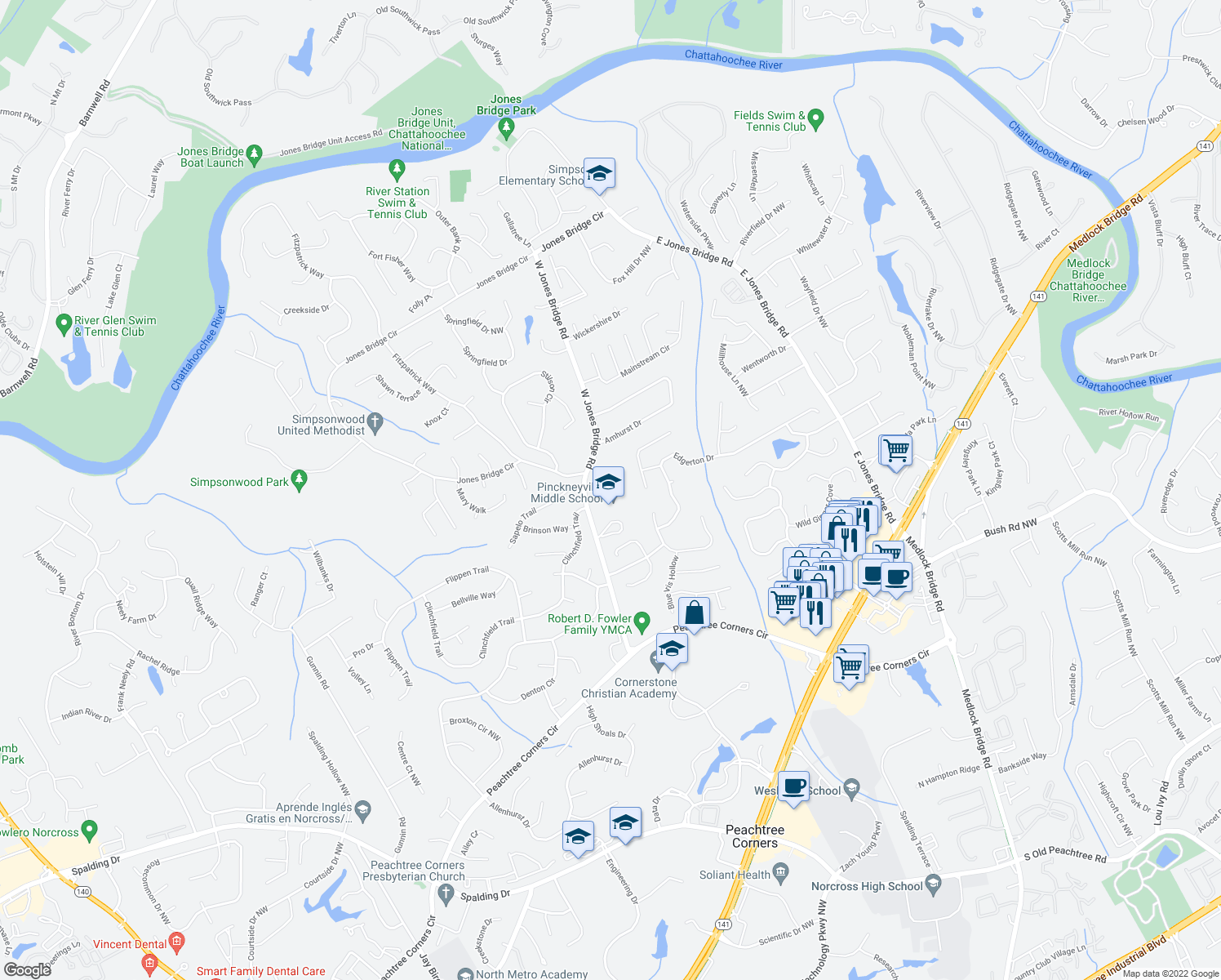 map of restaurants, bars, coffee shops, grocery stores, and more near West Jones Bridge Road in Norcross