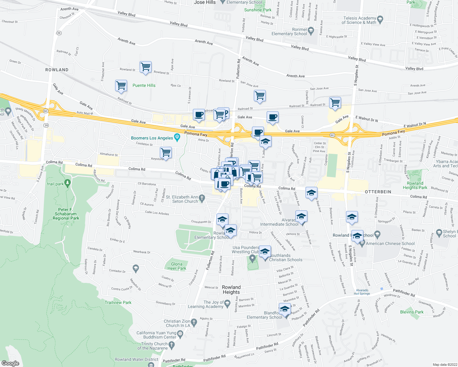 map of restaurants, bars, coffee shops, grocery stores, and more near Colima Road & Fullerton Road in Rowland Heights