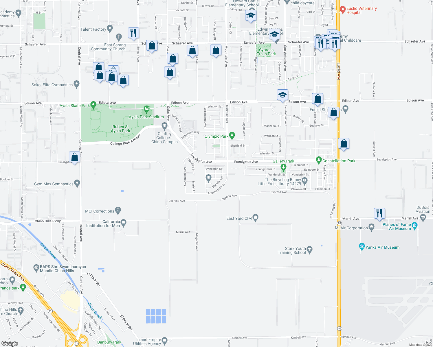 map of restaurants, bars, coffee shops, grocery stores, and more near 6168 Cumberland Street in Chino