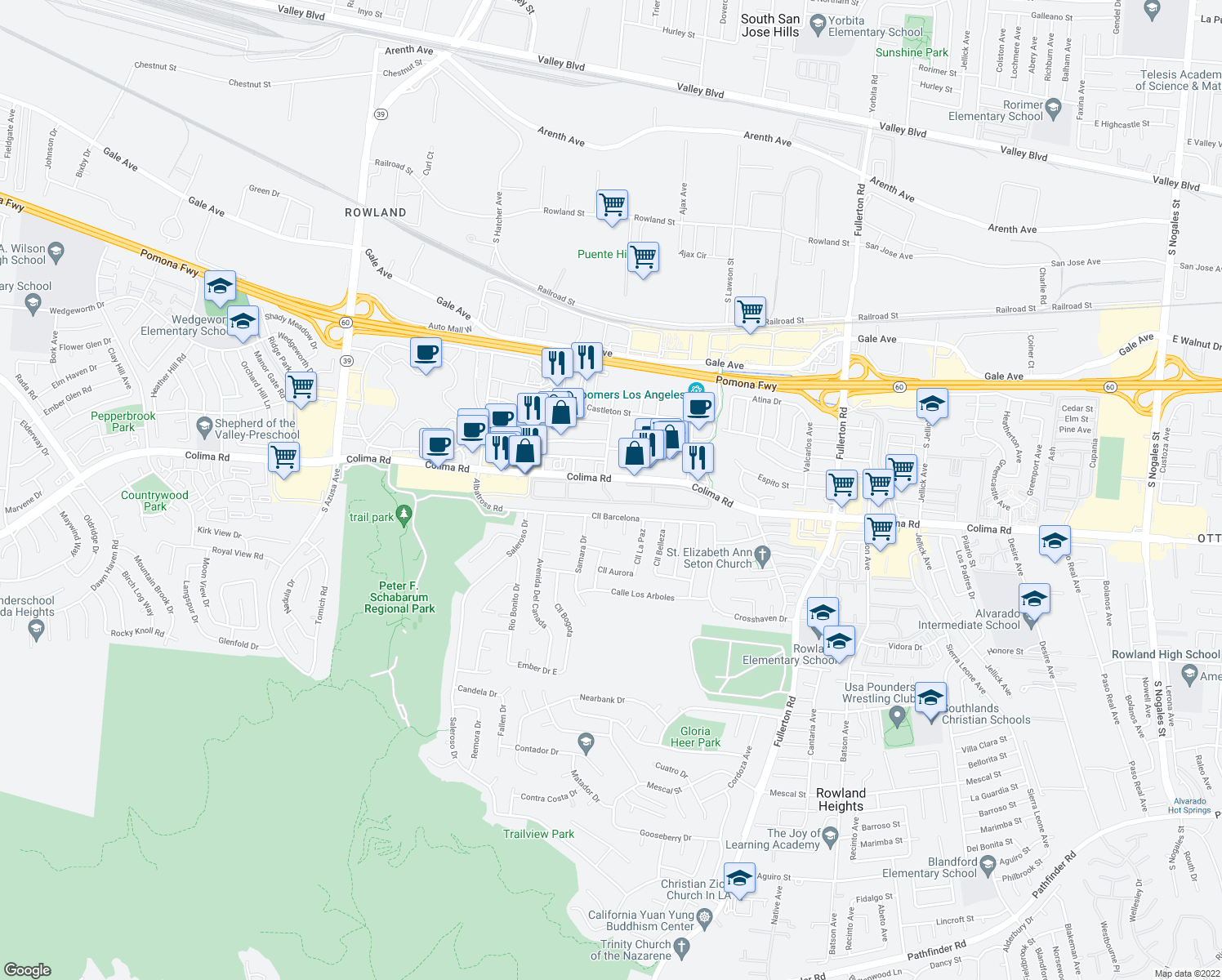 map of restaurants, bars, coffee shops, grocery stores, and more near 17800 Colima Road in Rowland Heights