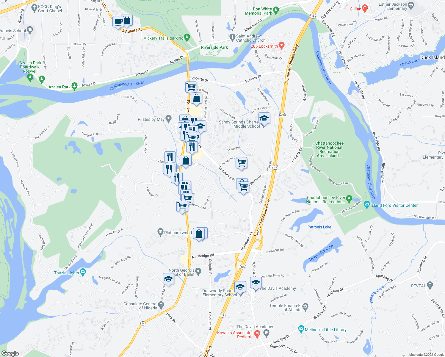 map of restaurants, bars, coffee shops, grocery stores, and more near 8800 Dunwoody Place in Atlanta