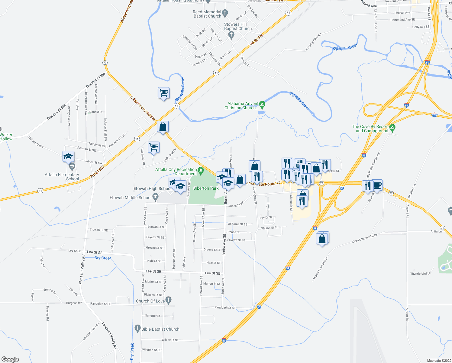 map of restaurants, bars, coffee shops, grocery stores, and more near 528-532 Gilbert Ferry Road Southeast in Attalla