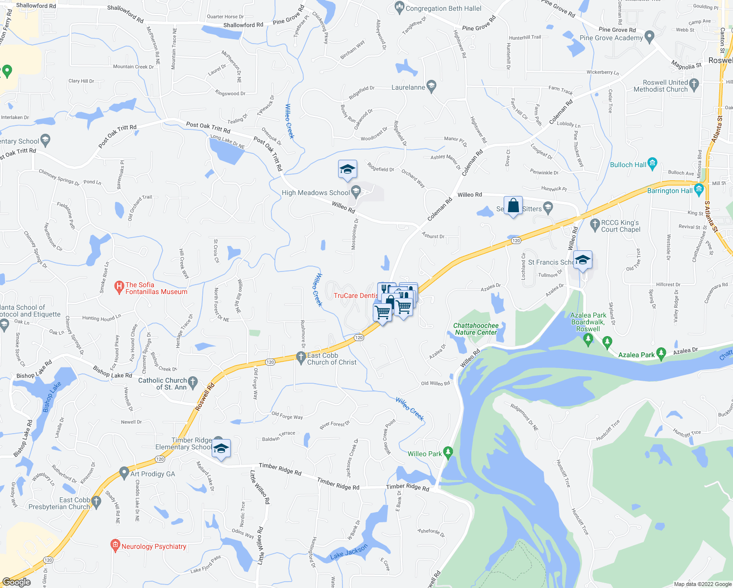 map of restaurants, bars, coffee shops, grocery stores, and more near 3208 Lake Pointe Circle in Roswell