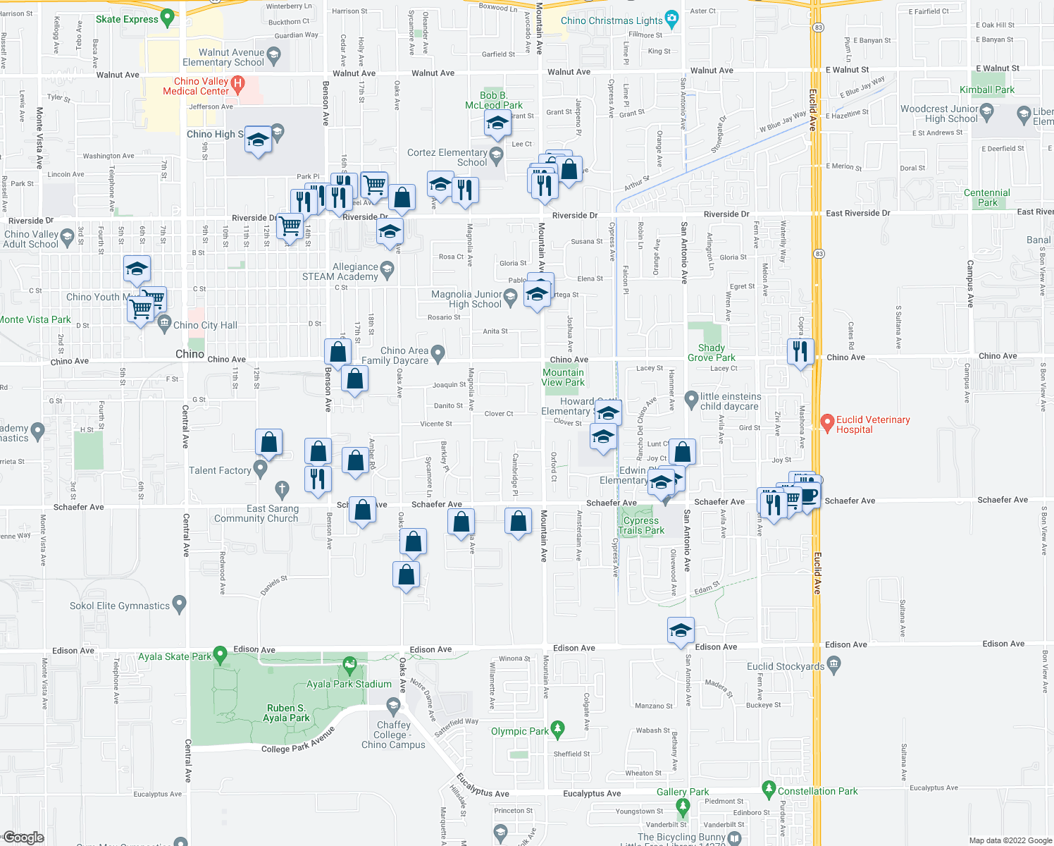 map of restaurants, bars, coffee shops, grocery stores, and more near 6261 Clover Court in Chino