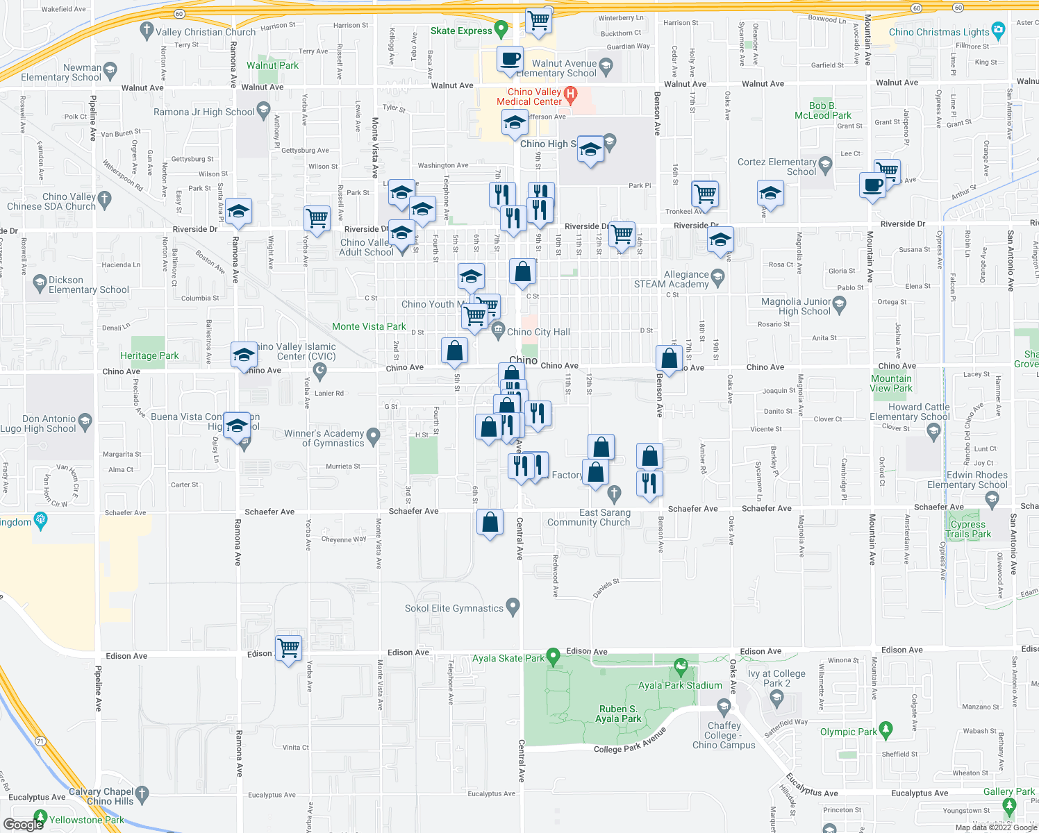 map of restaurants, bars, coffee shops, grocery stores, and more near Central Ave in Chino