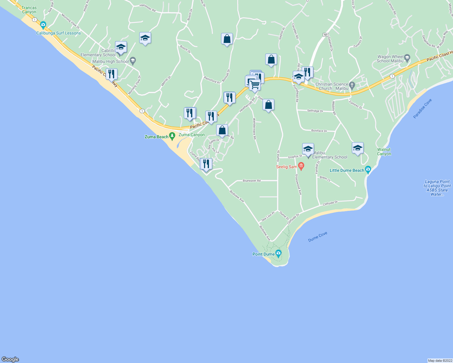 map of restaurants, bars, coffee shops, grocery stores, and more near 7022 Birdview Avenue in Malibu