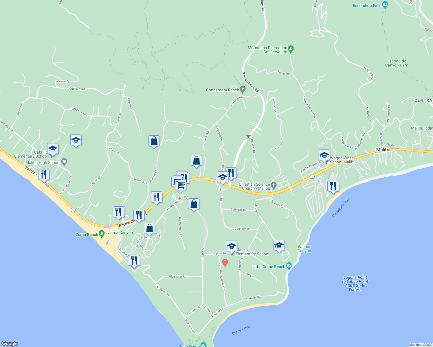 map of restaurants, bars, coffee shops, grocery stores, and more near 6489 Cavalleri Road in Malibu