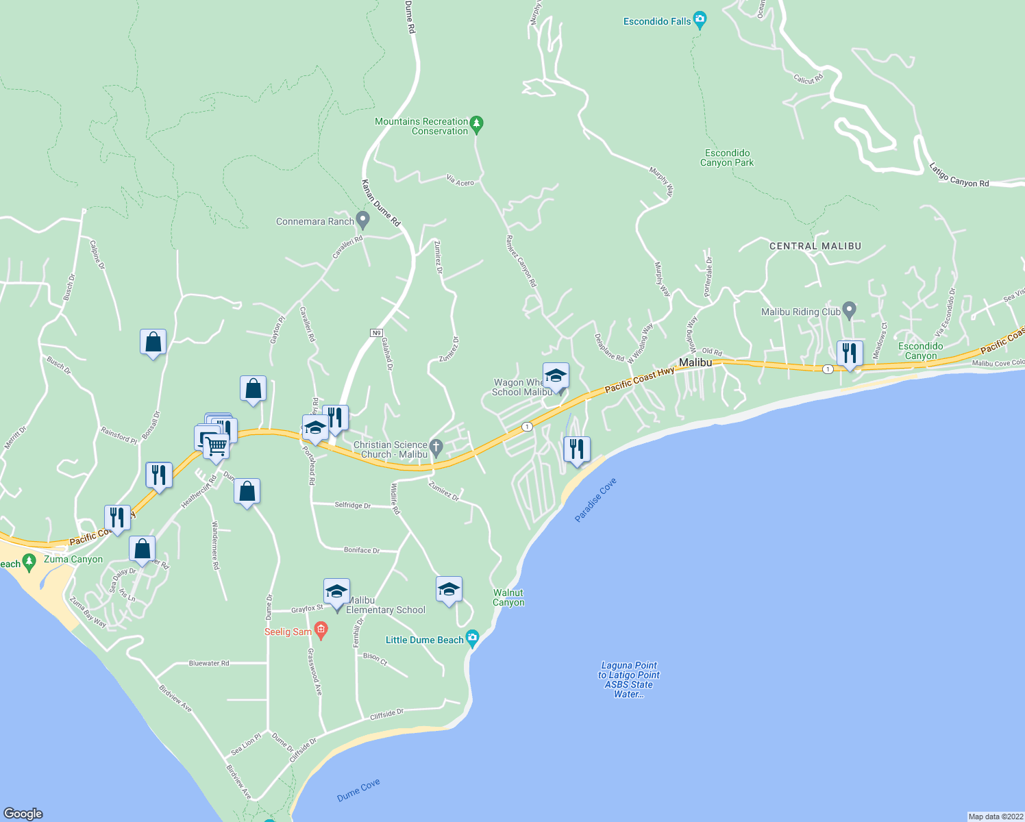 map of restaurants, bars, coffee shops, grocery stores, and more near 28250 Rey De Copas Lane in Malibu