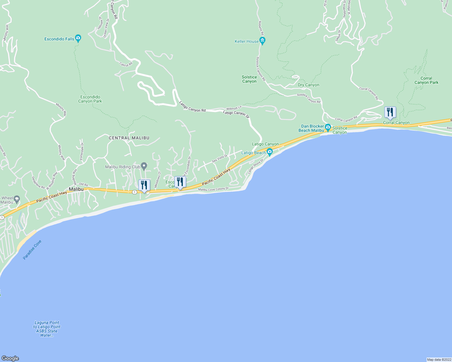 map of restaurants, bars, coffee shops, grocery stores, and more near 26848 Pacific Coast Highway in Malibu