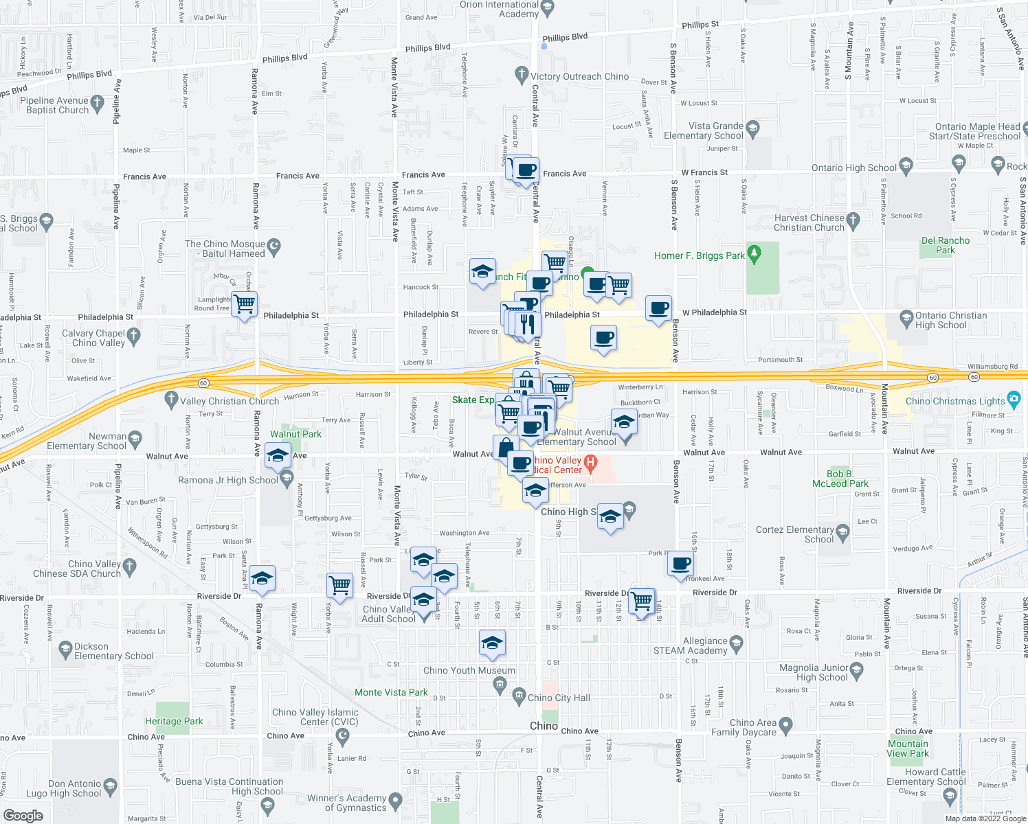 map of restaurants, bars, coffee shops, grocery stores, and more near 33 Marshall Avenue in Chino