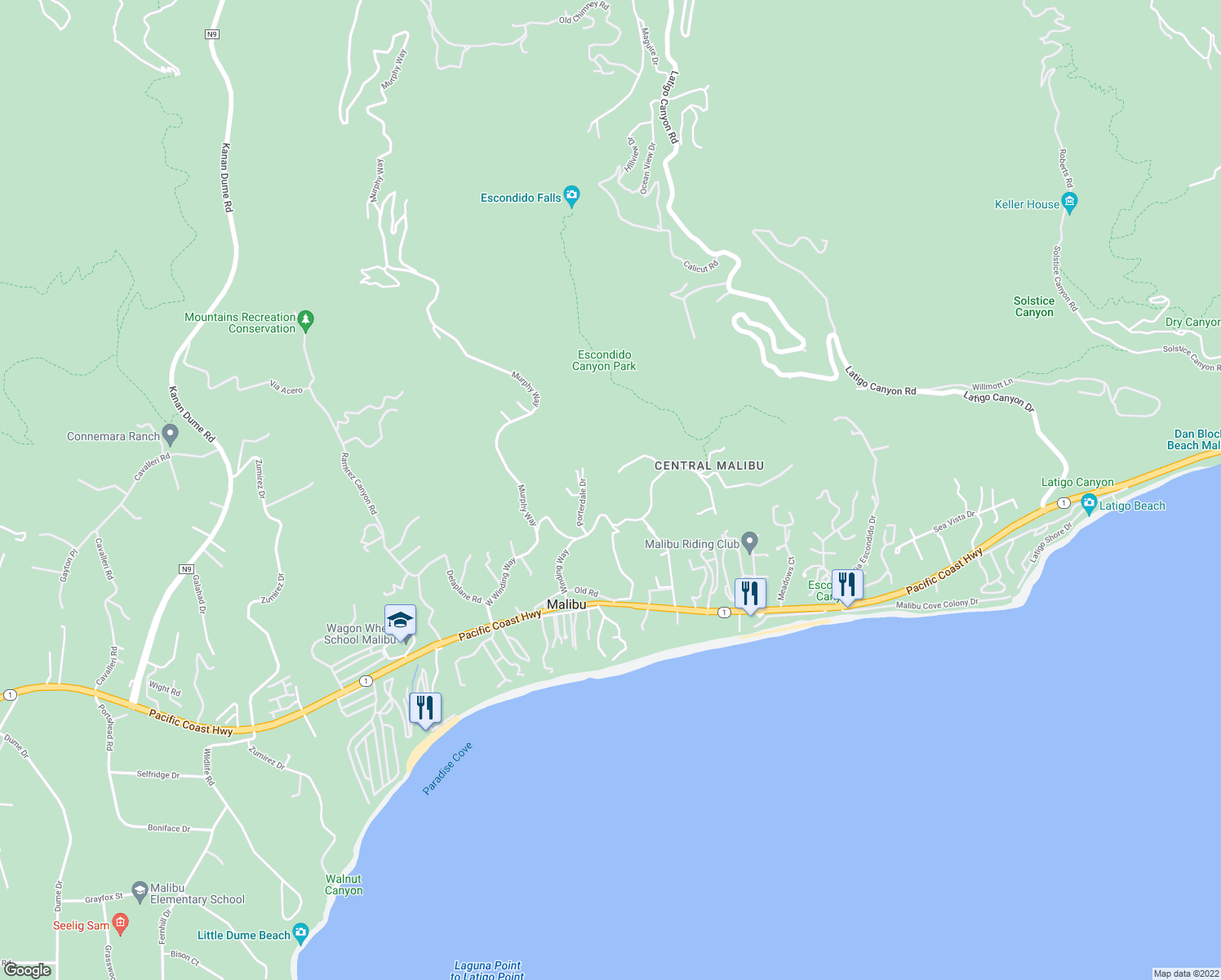 map of restaurants, bars, coffee shops, grocery stores, and more near 27465 Winding Way in Malibu