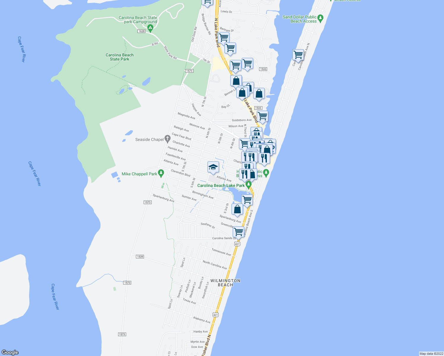map of restaurants, bars, coffee shops, grocery stores, and more near 405 Fayetteville Avenue in Carolina Beach