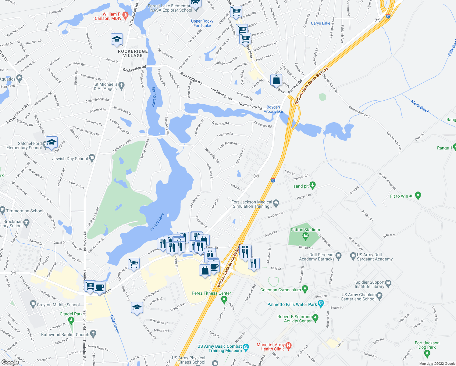 map of restaurants, bars, coffee shops, grocery stores, and more near 4 Lake Court in Columbia