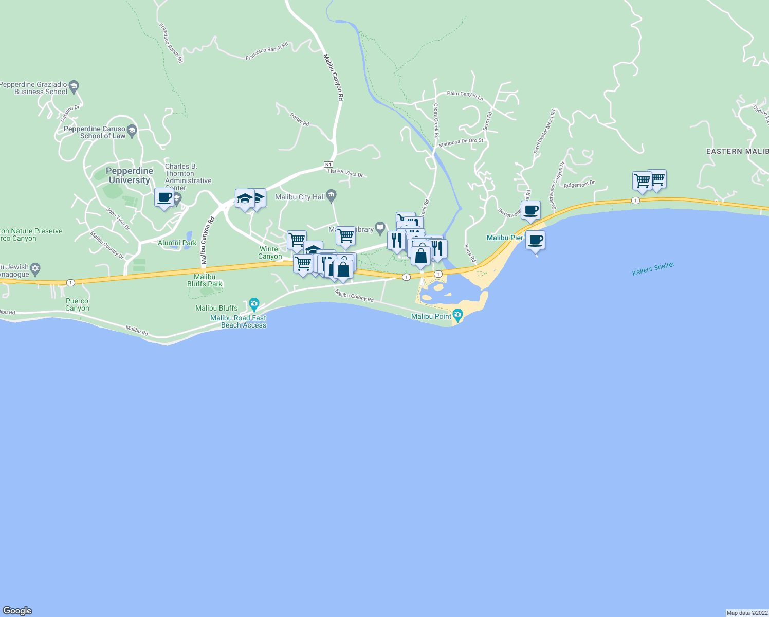 map of restaurants, bars, coffee shops, grocery stores, and more near 23556 Malibu Colony Road in Malibu