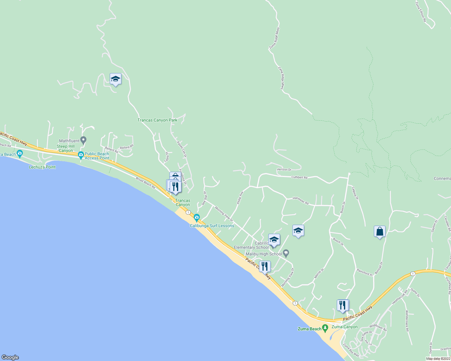 map of restaurants, bars, coffee shops, grocery stores, and more near 6282 Sea Star Dr in Malibu
