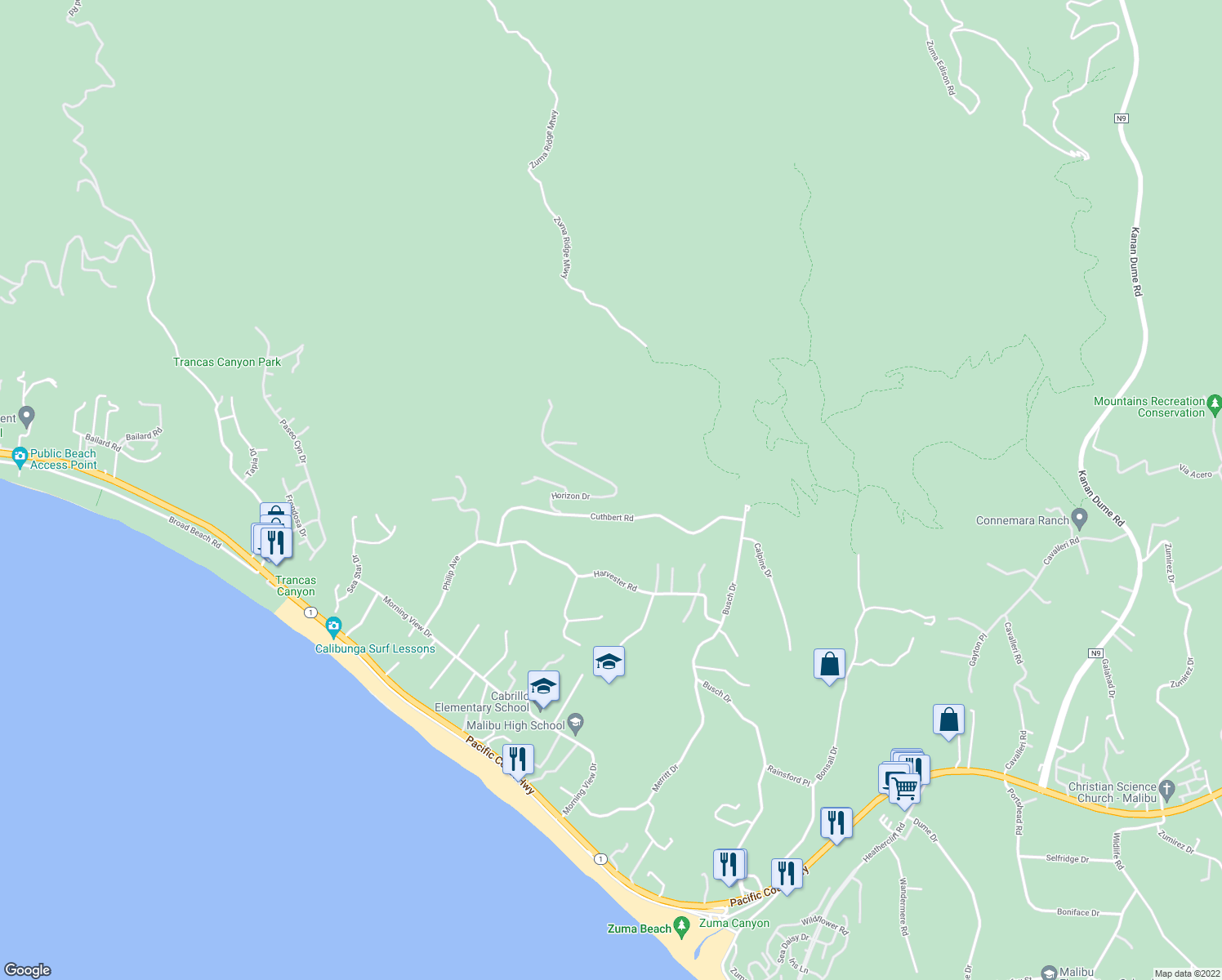 map of restaurants, bars, coffee shops, grocery stores, and more near 5427 Horizon Drive in Malibu