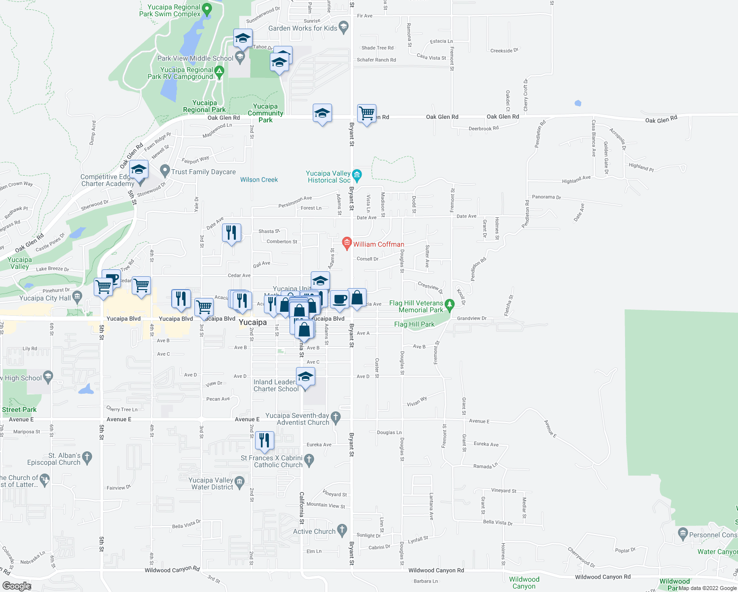 map of restaurants, bars, coffee shops, grocery stores, and more near 12031 Auburn Avenue in Yucaipa
