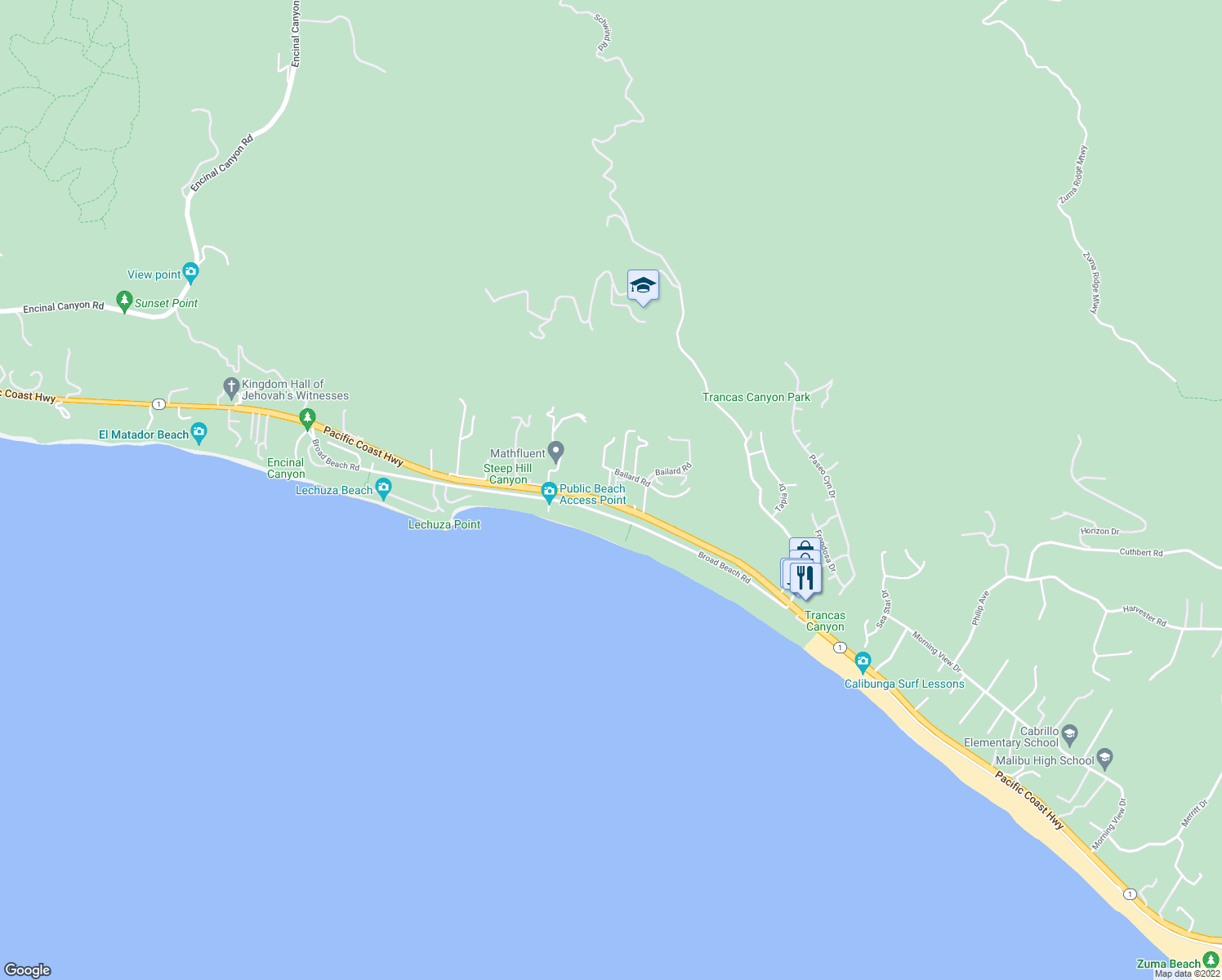 map of restaurants, bars, coffee shops, grocery stores, and more near 7150 Westward Beach Road in Malibu