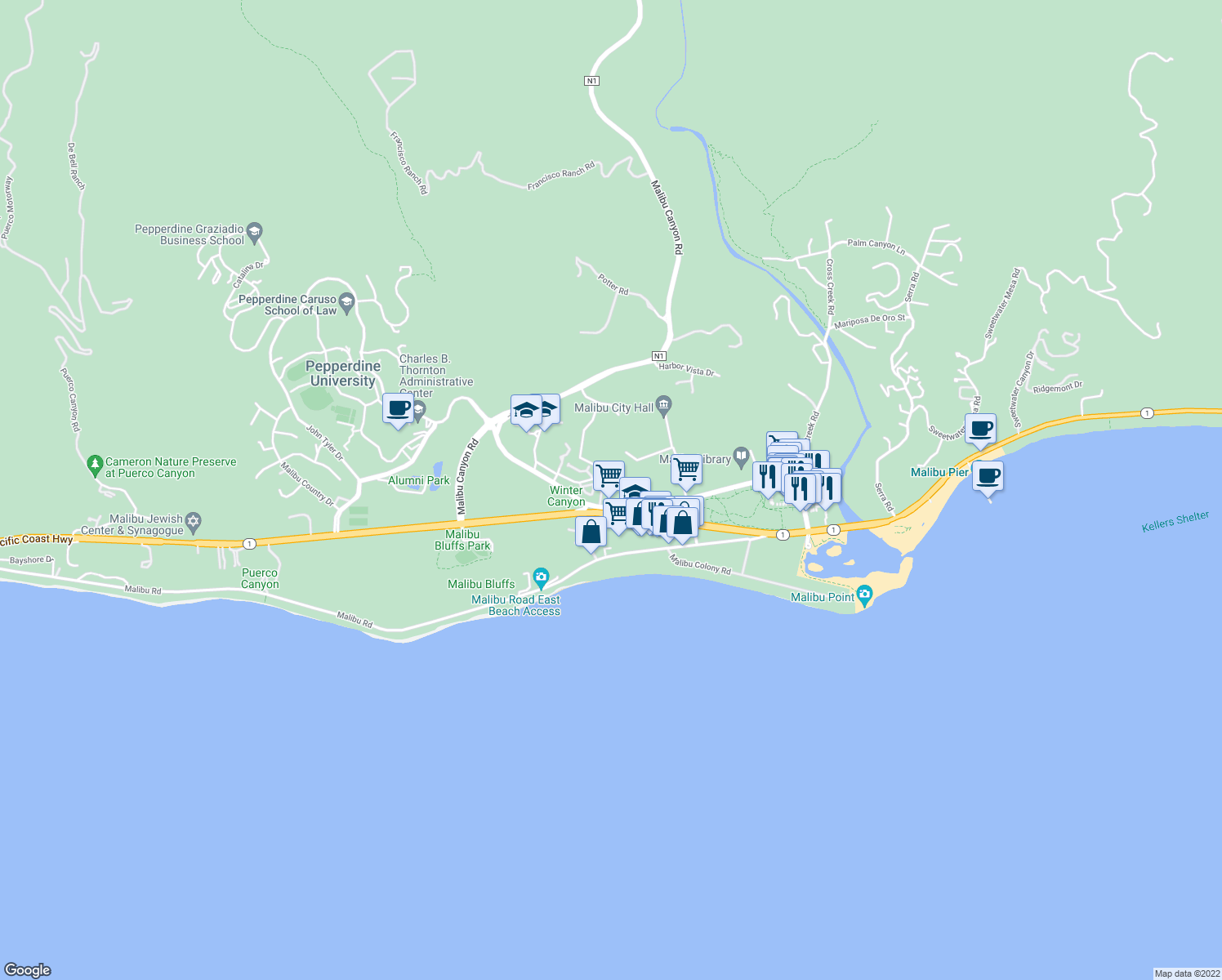 map of restaurants, bars, coffee shops, grocery stores, and more near 23901 Civic Center Way in Malibu