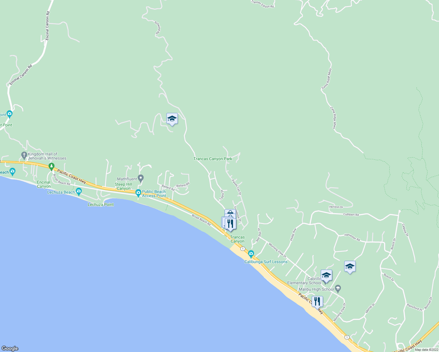map of restaurants, bars, coffee shops, grocery stores, and more near 6128 Tapia Drive in Malibu