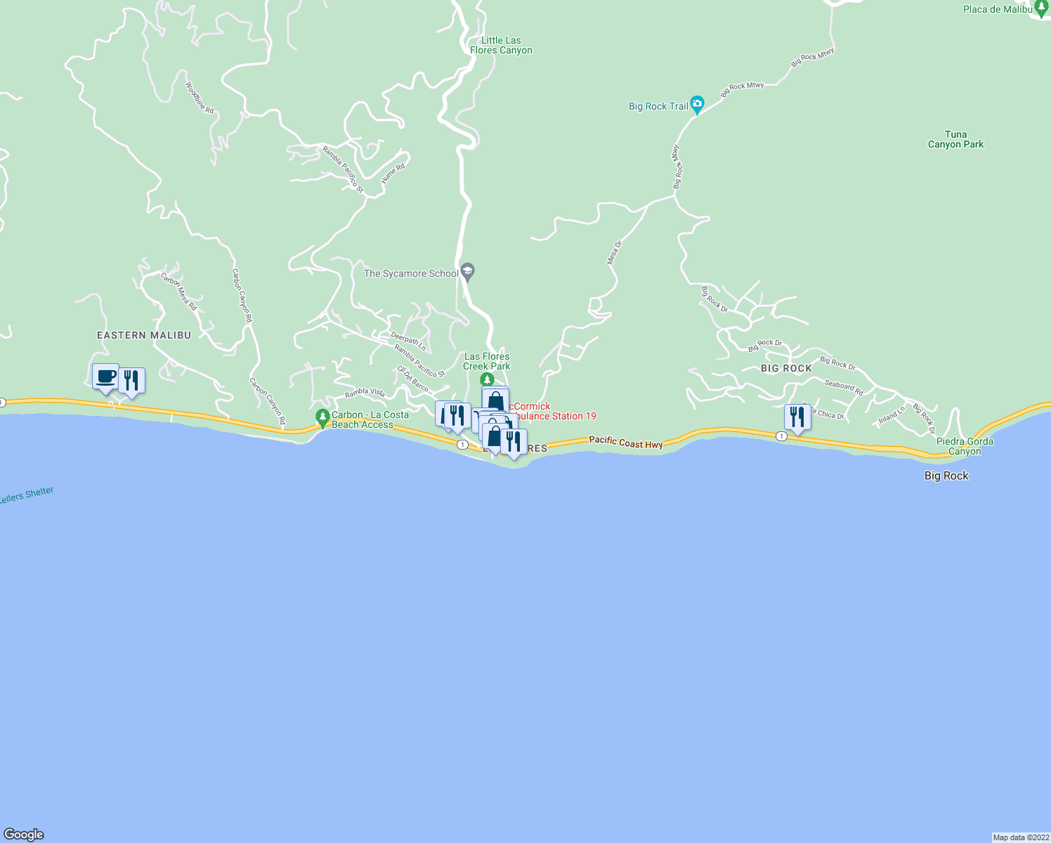 map of restaurants, bars, coffee shops, grocery stores, and more near 3915 Sierks Way in Malibu