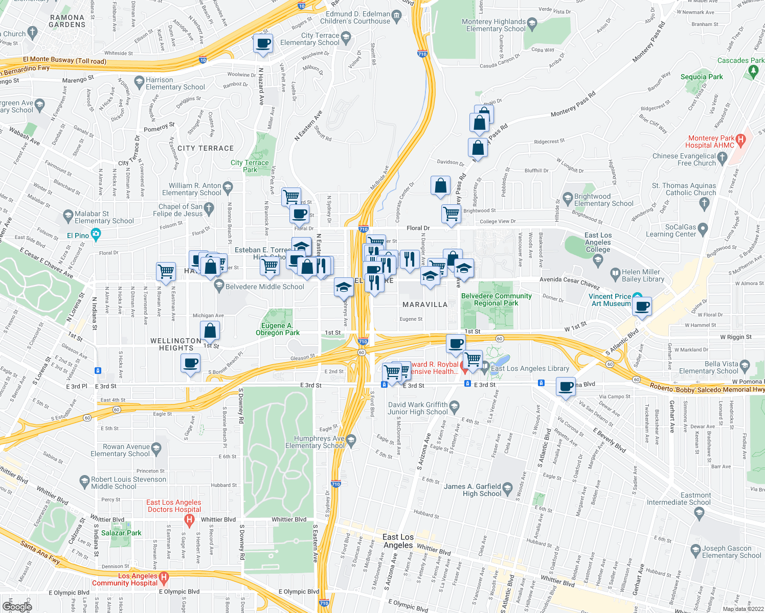 map of restaurants, bars, coffee shops, grocery stores, and more near 316 North Ford Boulevard in Los Angeles