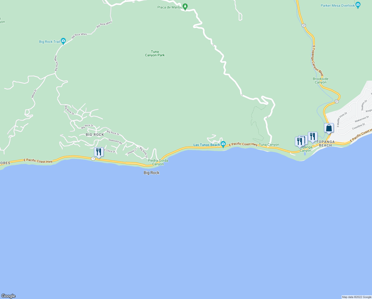 map of restaurants, bars, coffee shops, grocery stores, and more near 19620 Pacific Coast Highway in Malibu