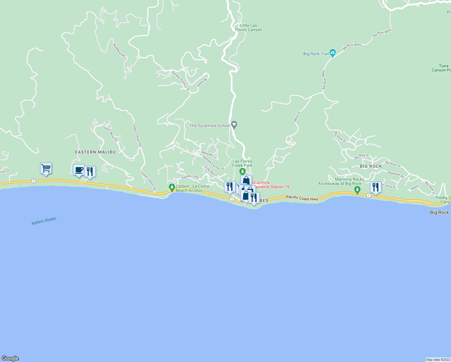 map of restaurants, bars, coffee shops, grocery stores, and more near 3881 Rambla Orienta in Malibu