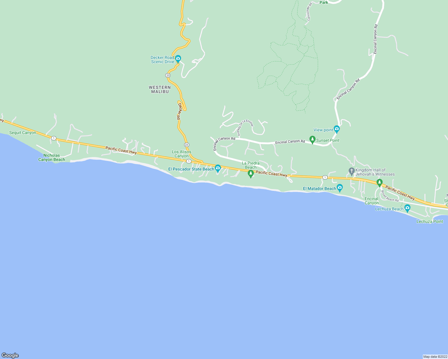 map of restaurants, bars, coffee shops, grocery stores, and more near 32852 Pacific Coast Highway in Malibu