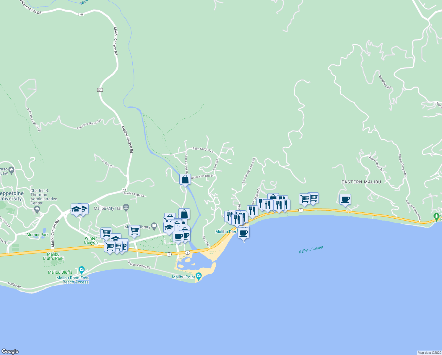 map of restaurants, bars, coffee shops, grocery stores, and more near 3434 Serra Road in Malibu