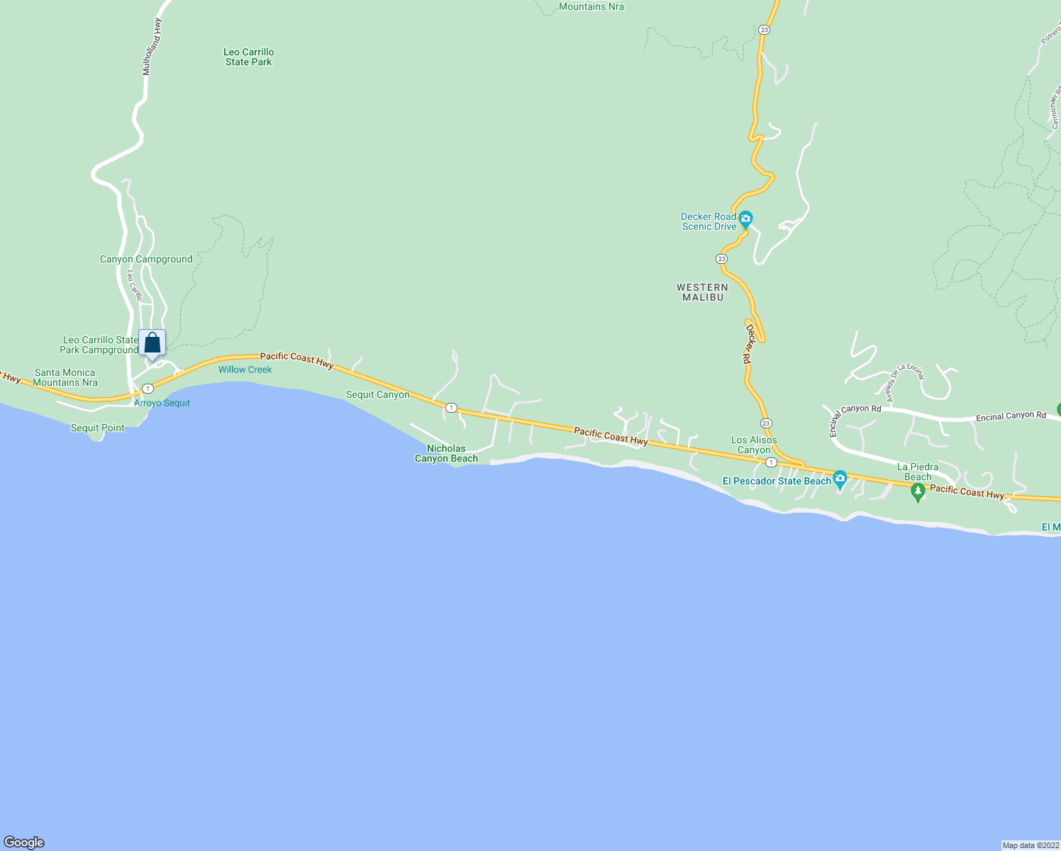 map of restaurants, bars, coffee shops, grocery stores, and more near 33744 Pacific Coast Highway in Malibu