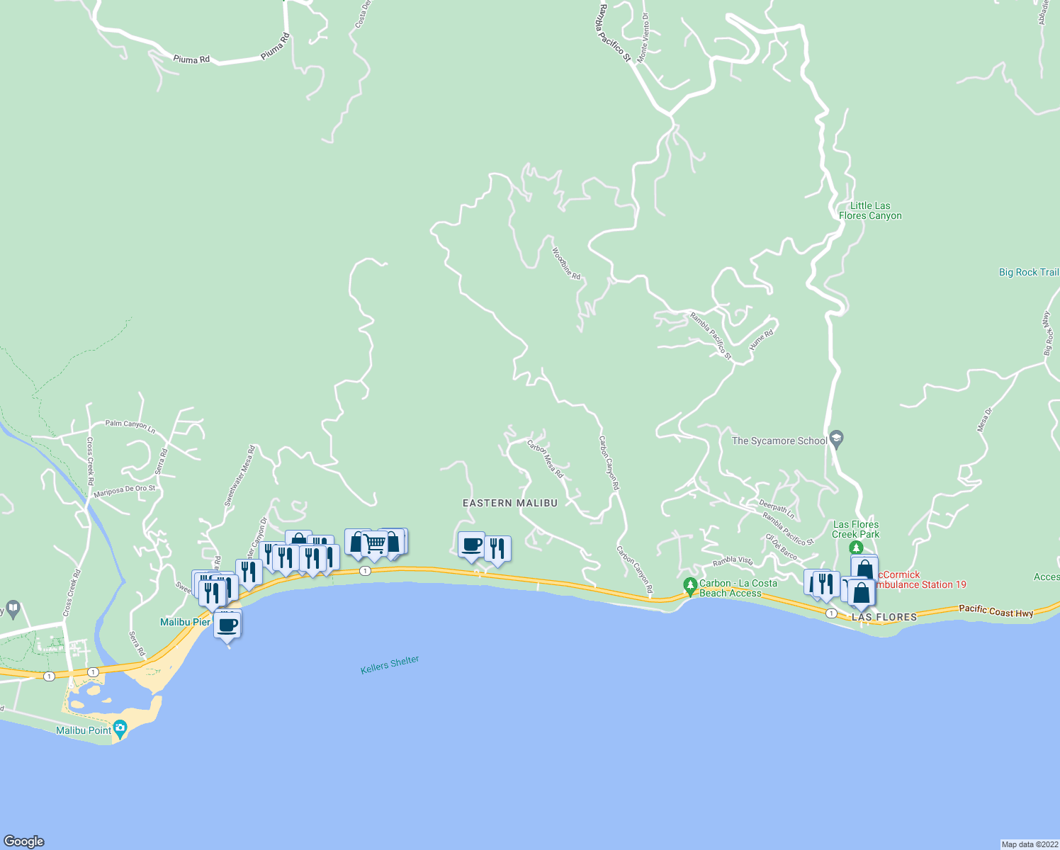 map of restaurants, bars, coffee shops, grocery stores, and more near 22251 Carbon Mesa Road in Malibu